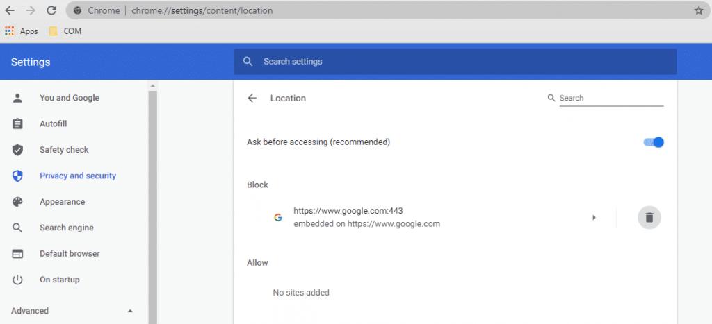 tắt chia sẻ vị trí trên Chrome